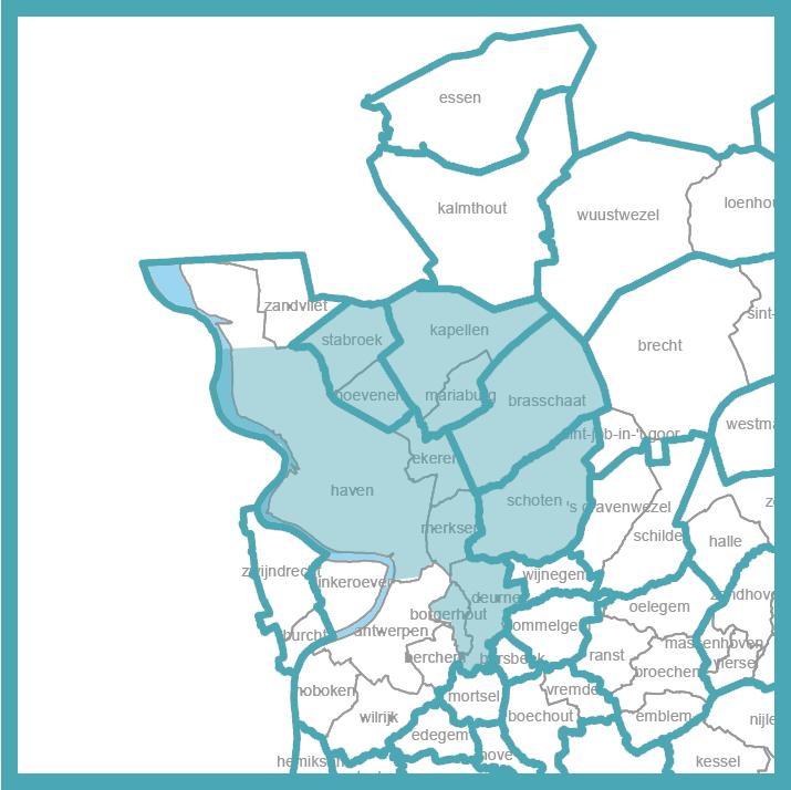 Kaart van regio Antwerpen